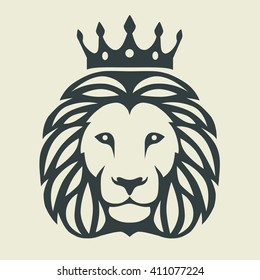 graphic illustration of a lion's head with crown