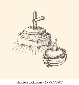 Graphic illustration of millstone and grain sack in vector. Hand drawn sketch of mill stuff in engraving style.