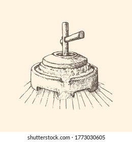 Graphic illustration of millstone in vector. Hand drawn sketch of mill stuff in engraving style.
