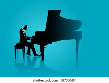 Graphic illustration of a musician playing piano