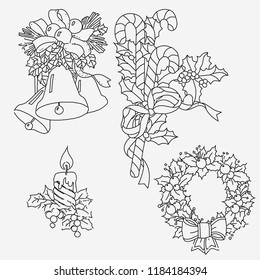 Graphic illustration of the New Year decoration. Postcard. Coloring page. Holidays Celebration. Christmas wreath, mistletoe, candle, Christmas bells, lollipops