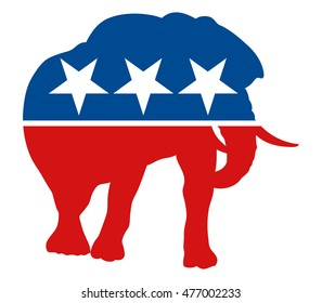 Graphic illustration of painted elephant, symbol for the republican party in the US