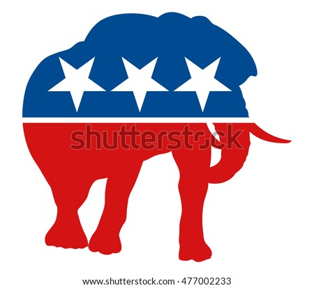 Graphic Illustration Painted Elephant Symbol Republican Stock Vector