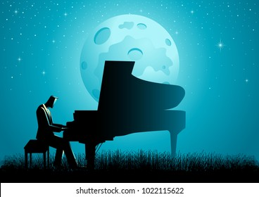 Graphic illustration of a pianist playing piano on grassland during full moon