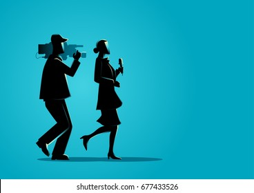 Graphic illustration of a reporter and a cameraman running, chasing for news