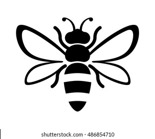 Graphic illustration of silhouette honey bee. Isolated on background vector drawing for honey products, package, design.