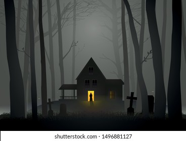 Graphic illustration of  spooky house in the woods, for Halloween and horror theme
