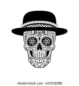 54cbb6355 Graphic illustration of sugar skull in hat. Black and white.