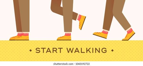 graphic illustration vector walking, foot, start, move on.