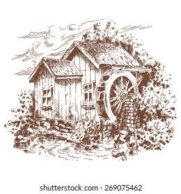 Graphic Illustration - Water Mill - Illustration