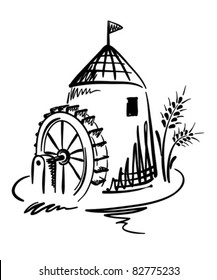 Graphic Illustration - Water Mill