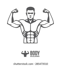 Graphic illustration of young bodybuilder man torso with big muscles for sport club logo, label, banner or poster design plus small silhouette icon isolated on white background