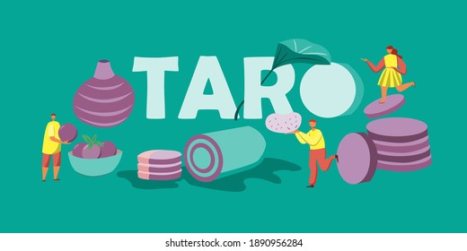 Graphic illustrations, men and women grasping each taro menu, a delicious menu consisting of cakes, rolls and snacks.
