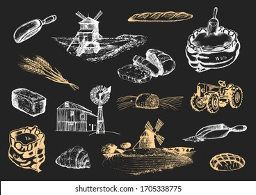 Graphic illustrations of mill stuff in vector. Hand drawn set of bakery and pastry goods in engraving style. Sketches collection of rural life and farm environment.