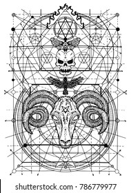 Graphic illustrations with symbols of death and devil signs. Fantasy and secret societies emblems, occult and spiritual mystic drawings. Tattoo design, new world order.