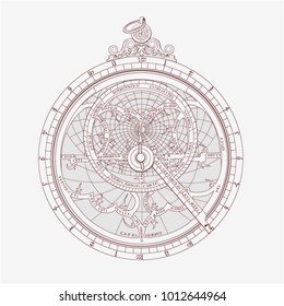 Graphic image collection of an astrolabe