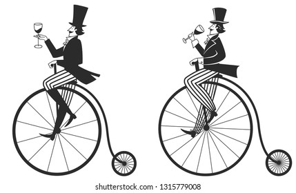 graphic image of a man with a glass of wine on a retro bicycle, vector illustration, isolated objects