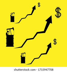 Graphic image of rising oil prices, drawing barrels of oil, oil rigs, icon, vector illustration. Economic growth