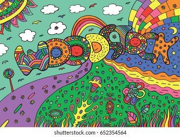 Graphic image with woodstock word. Hand drawn colorful doodle illustration for adult coloring book, design and tshirt.