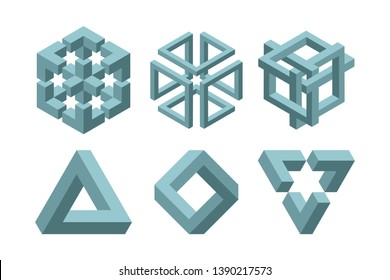 Graphic impossible shapes. Circle, square and triangle symbols with escher paradox impossible geometry geometric graphic