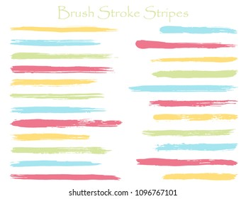 Graphic ink brush stroke stripes vector set, blue horizontal marker or paintbrush lines patch. Hand drawn watercolor paint brushes, smudge strokes collection. Interior paint color palette swatches.