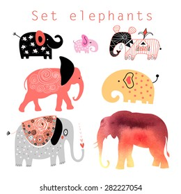 Graphic interesting set different elephants on a white background