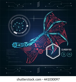 Concept blueprint ai invention robot hand stock vector royalty free graphic of interface of ai invention diagram of robot wing with technology theme blueprint malvernweather Images