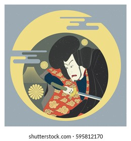 Graphic of Japanese samurai traditional art. Vector illustration.