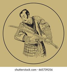 Graphic of Japanese samurai traditional art. Vector illustration. Sketch