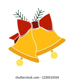 graphic jingle bell isolated vector - christmas handbell illustration sign . decoration alarm sign symbol