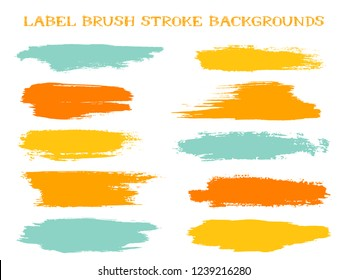 Graphic label brush stroke backgrounds, paint or ink smudges vector for tags and stamps design. Painted label backgrounds patch. Color combinations catalog elements. Ink dabs, orange blue splashes.