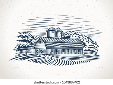 Graphic landscape with farm and field. Graphic design element for the create of the label or trademark. Vector illustration.