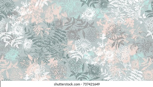 graphic leaves and flowers abstractly placed on fading background