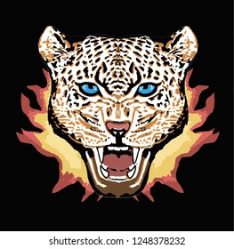 Graphic Leopard face with fire on black background. Vector illustration, perfect for t shirt print.