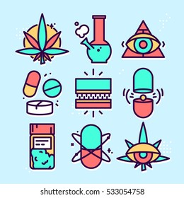 Graphic line art style medical weed cannabis vector icon set