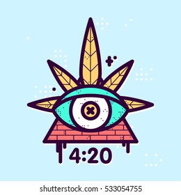 Graphic line art style weed eye leaf triangle vector hipster illustration