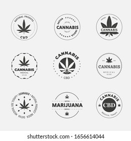 Graphic linear logo set on a white background with sativa and indica cannabis leaf. Vector label template with organic hemp cbd and thc. Medical Marijuana Emblem Design