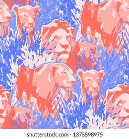Graphic lion pride among the grass and bushes. Abstract vector seamless pattern drawn in the technique of rough brush