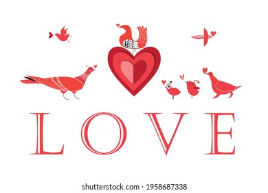 Graphic love birds with hearts on a white background. Example of a valentine card with birds