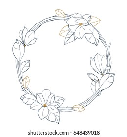 Graphic magnolia wreath.Vector hand drawn illustration isolated on white background. Coloring book page design for adults and kids.