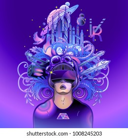 Graphic man with open mouth wearing virtual reality headset with fantastic cyber world on the background drawn in line art style. VR glasses. Modern technologies for gaming.