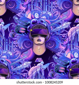 Graphic man with open mouth wearing virtual reality headset with fantastic cyber world on the background. VR glasses. Modern technologies for gaming. Vector seamless pattern