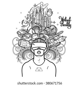 Graphic man with open mouth wearing virtual reality headset with cyber world on background. VR glasses. Modern technologies for gaming. Coloring book page design for adults and kids