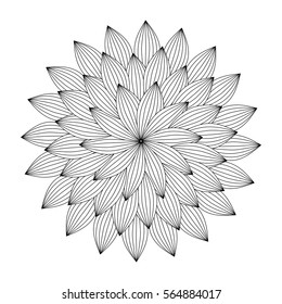 Graphic Mandala with abstract petals . Zentangle inspired style. Coloring book (page) for adults and older children. Art vector illustration