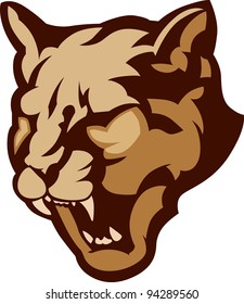 Graphic Mascot Vector Image of a Cougar Head