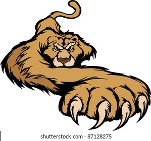 Graphic Mascot Vector Image of a Prowling Cougar Body
