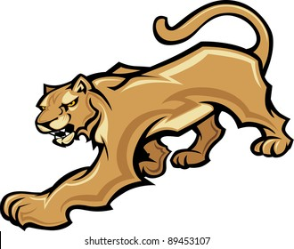 Graphic Mascot Vector Image of a Walking Cougar Body