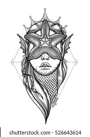 Graphic mermaid head with starfish on her face and seaweed decorations. Sacred geometry. Blackwork tattoo or t-shirt design. Vector art isolated on white background. Coloring book page for adults