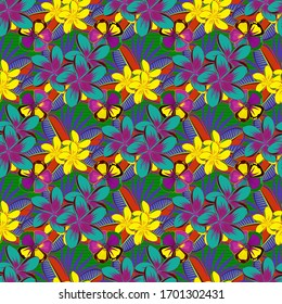 Graphic modern pattern. Seamless pattern with plumeria flowers. Seamless abstract floral pattern in blue, yellow and purple colors. Geometric leaf ornament. Cute vector background.