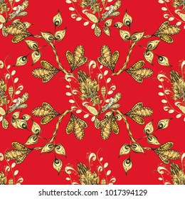 Graphic modern seamless pattern on red and yellow colors. Seamless vector background. Wallpaper baroque, damask. Seamless floral pattern.